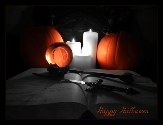 halloween pumpkins candles book spells