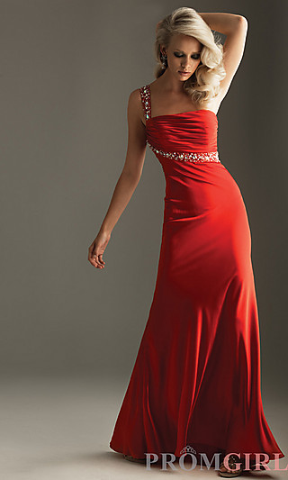 One Shoulder Red Prom Gown