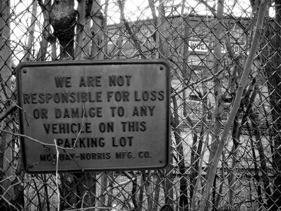 sign chainlink fence blackwhite bw industry