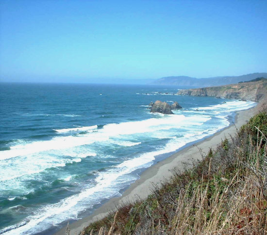 North along the coast of California - along Highway One, looking towards the Lost Coast.