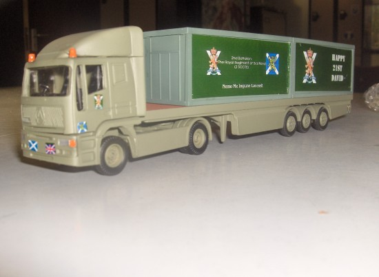 A 1/64 Scale Corgi Superhauler with a British Army Livery. It was made as a project for someone t...