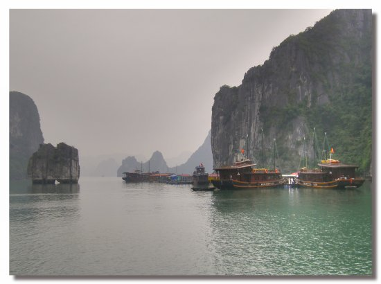 vietnam halong water view boat mountain fog vietx halox watev boatv viewv