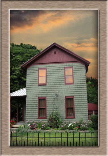 Added a more interesting sky to a lovely house seen in Peninsula, OH. Still trying to learn the i...