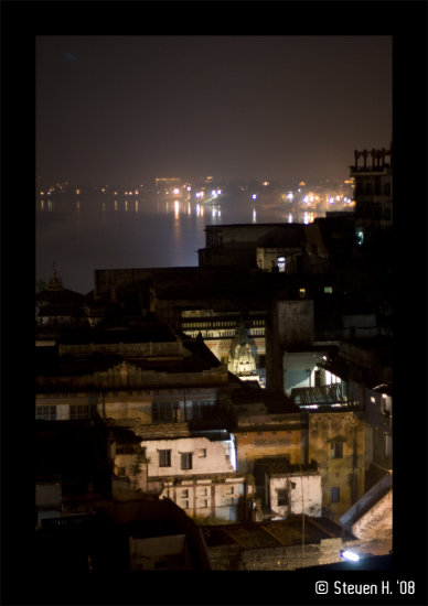 India Varanasi night ganga river