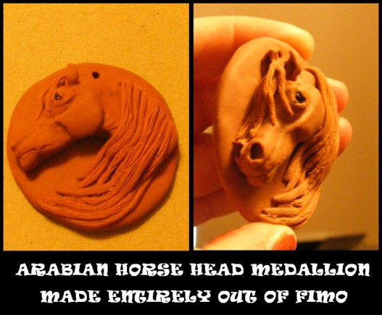 arabian horse medallion fimo art sculpture