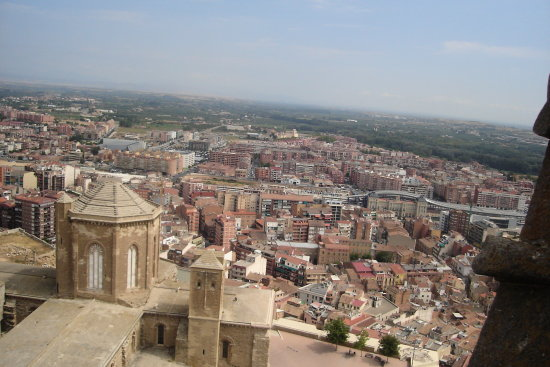 lleida from tower bell of cathedral seu vella