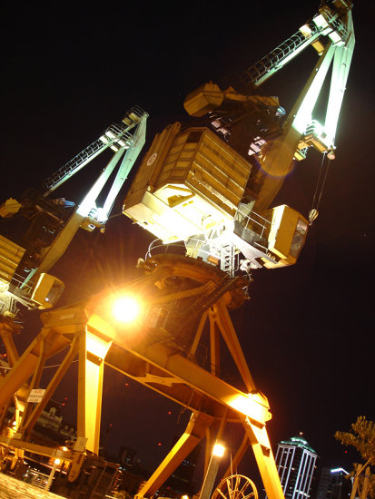 Night lights dark black derrick Buenos Aires Argentina Port Puerto Arrojo