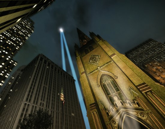 Twin Towers tribute light trinity church new york 911