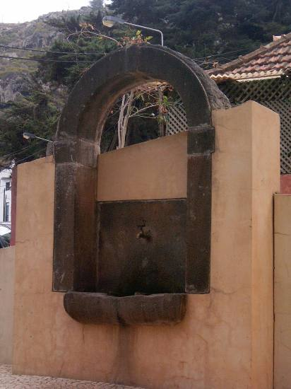 Madeira island Portugal fountain Machico old recovered 2005 stone