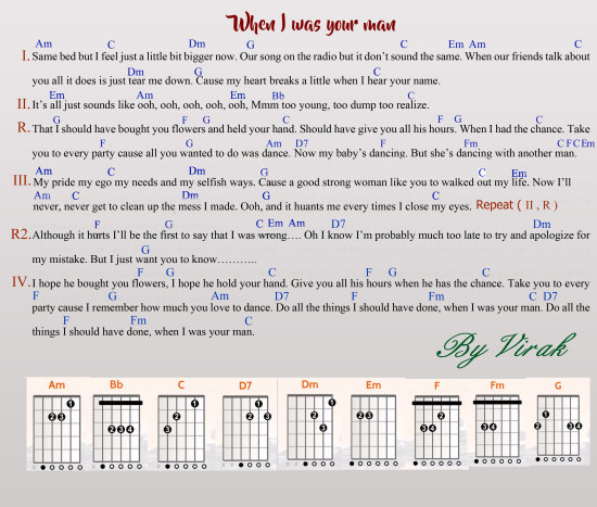 When i was your man lyric+guitar chord