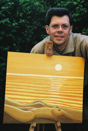Naked beach sun set yellow orange 2004 oil paint Kent0607