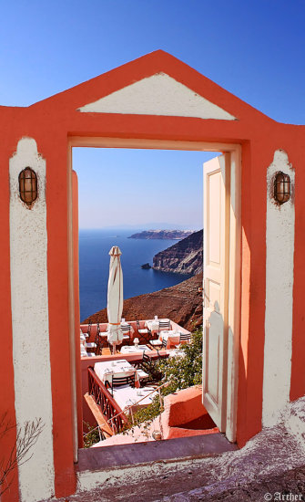 santorini door view frame archer