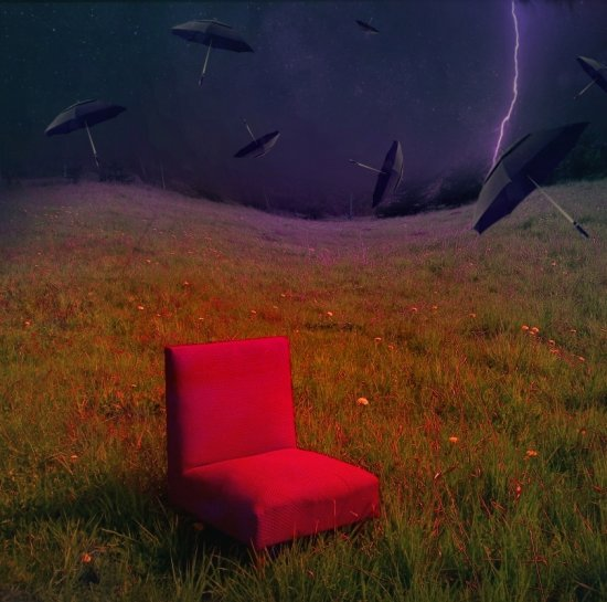 surrealism dream landscape red chair art series flying umbrellas my keitology