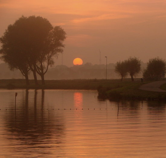Holland Haarlem Spaarne sunset