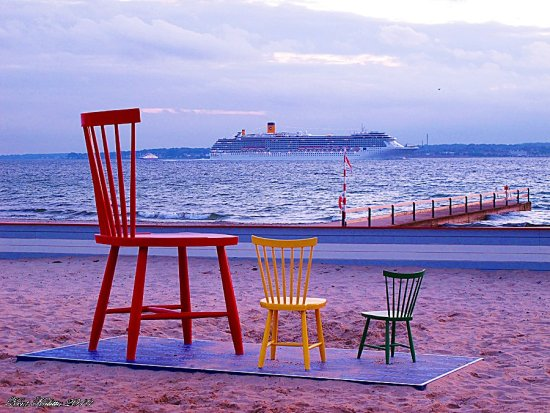 Three Chairs yellow red green Helsingborg beach Skane Sweden 2010