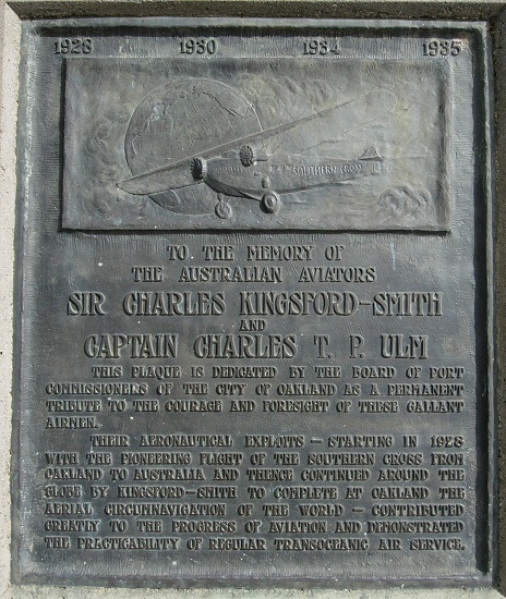 aviation oakland kingsfordsmith circumnavigation plaque