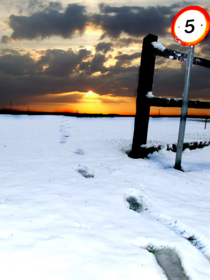 sunset sign snow