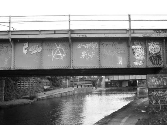 London canal Paddington blackwhite graffiti