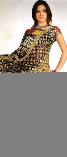 Green viscose saree having golden and block print with rich deep yellow b