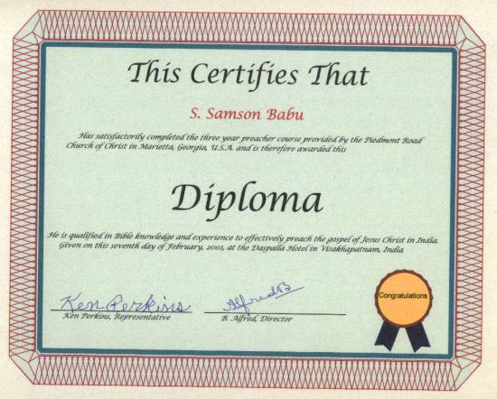 My Certificate Of Graduation From Piedmont Road Church Of Christ