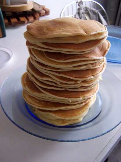 tower of American pancakes