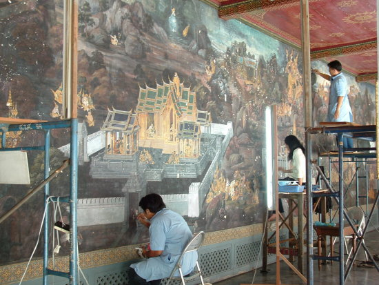 Restoring ancient wall paintings in the Wat Phrakaew Temple 2 Bangkok Thailand