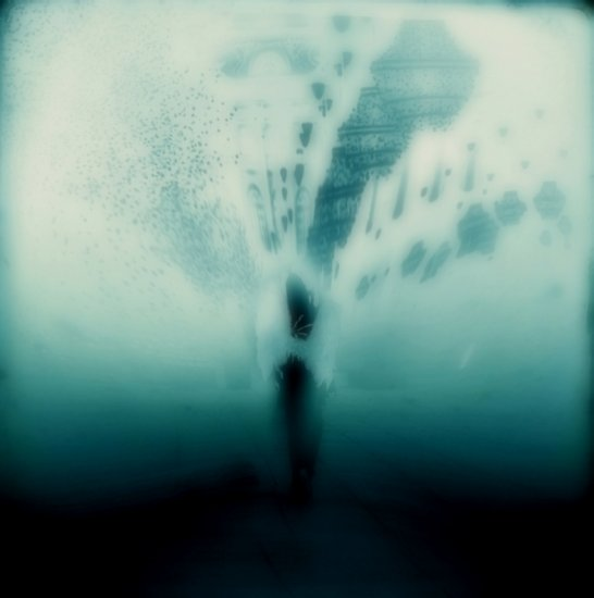 abstract surreal image people blue white black weird fog angel series keitology