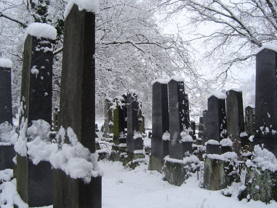 jewish cementery winter snow