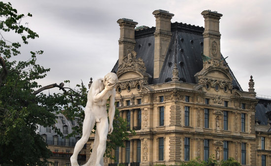 paris louvre merde sculpture nude male building