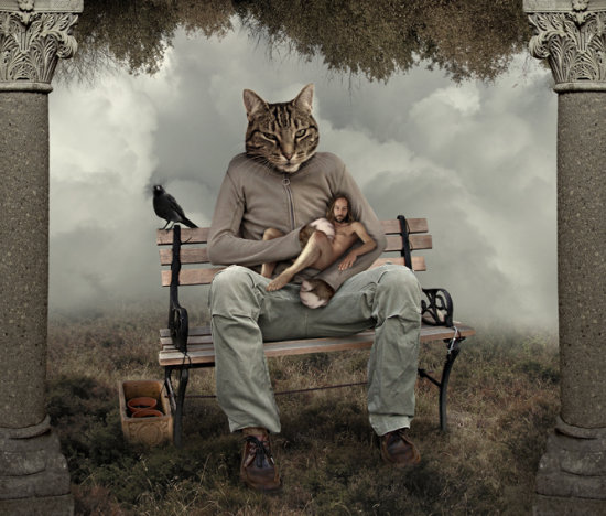 belly rub cat photomontage fantasy selfportrait pillars