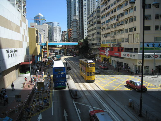 hongkong hong kong city tram road