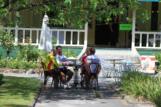 Cyclists relaxing at the Fat Duck Cafe - Queen Elizabeth II Park, Masterton