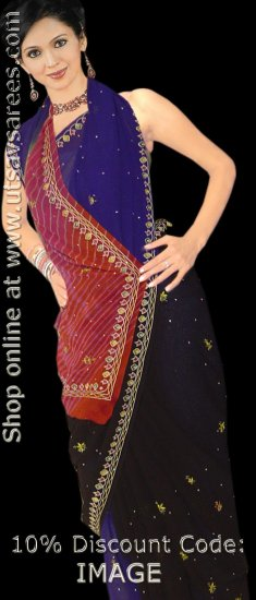 Multi Color Georgette Saree with Blouse