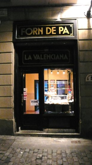 bakery barcelona night city catalonia street