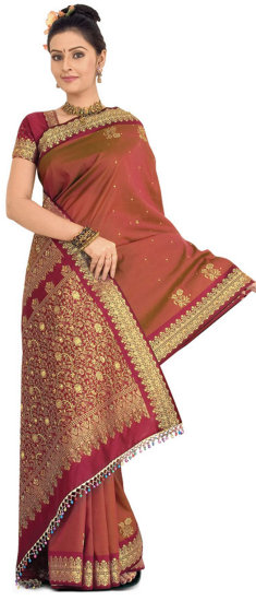 Reddish Maroon Art Silk Saree with Blouse