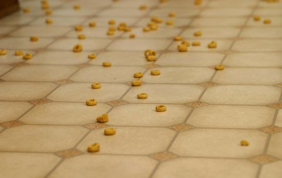 kitchen floor mess cereal