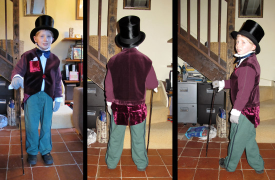 Book Day tomorrow - my Godson is going to school dressed as Willy Wonka