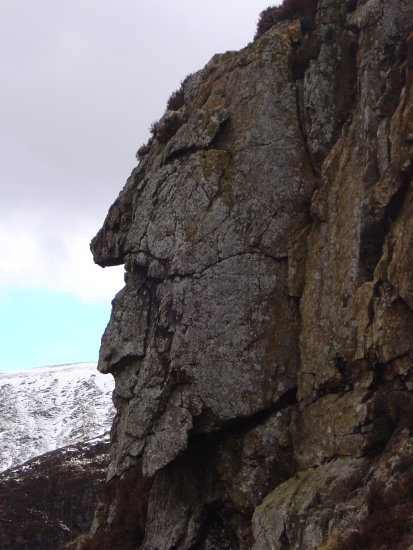 Grey Man of The Merrick. Natural rock formation located near Loch Enoch.