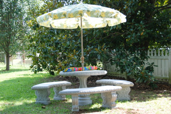 umbrella table benches cement