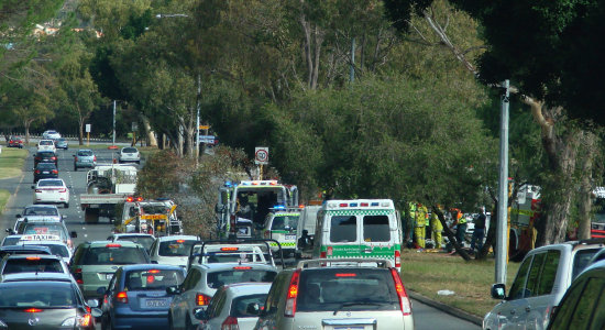 accident motor vehicle car tree road mid day rush hour perth littleollie
