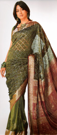 Olive Green Viscose Saree with Blouse