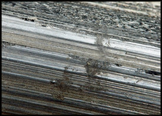 Stibnite crystal up close