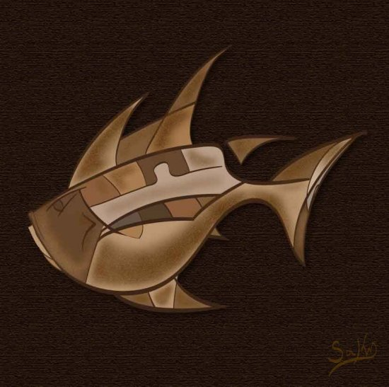 digital painting abstract art fish saky 2012