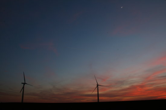 turbine blue sky sunset moon