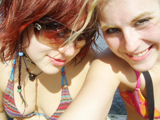 girls sisters love blond red hair summer fun
