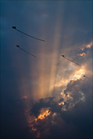 Kites Clouds Sunset