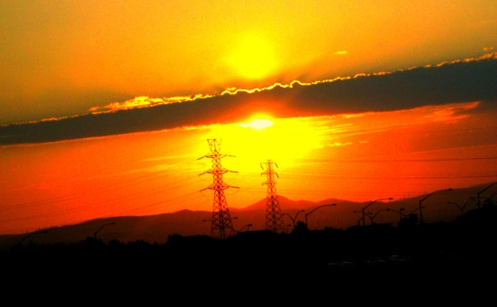 freeway sunset stockton california hydrotowers powerlines