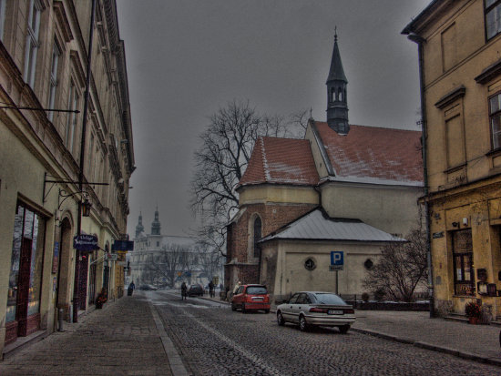 Winter street in Cracow