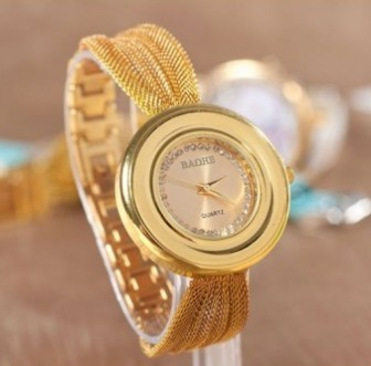Hot Sale Luxury Gold Crystal Quartz Watches Womens Fashion Mesh Belt Watches