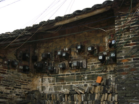 Electric meter, uummm...How they figure out which one is whom :), Yangmei, Guangxi